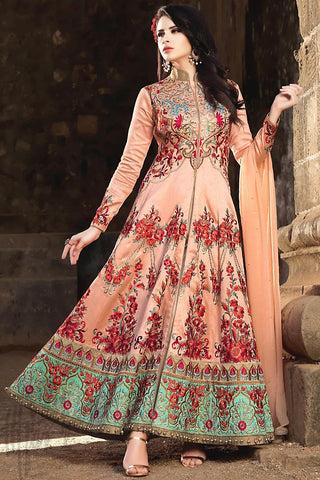 Indi Fashion Peach and Sea Green Silk Party Wear Anarkali Suit