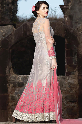 Indi Fashion Light Gray and Soft Pink Silk Party Wear Anarkali Suit