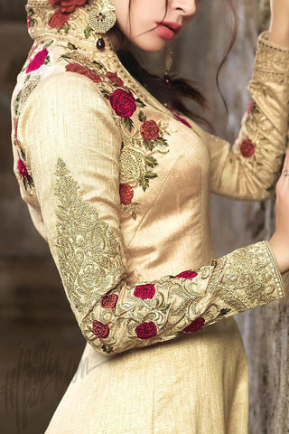 Indi Fashion Beige Silk Party Wear Anarkali Suit