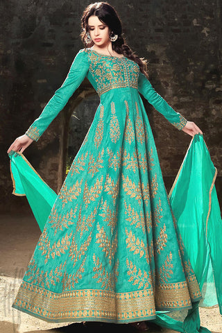 Indi Fashion Green Silk Party Wear Anarkali Suit