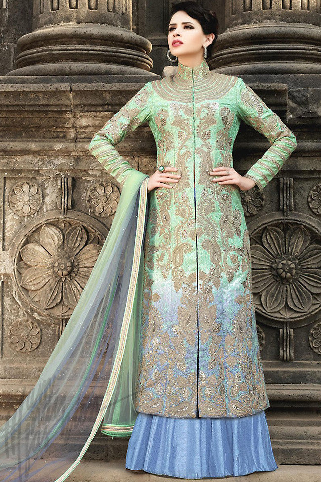 Indi Fashion Pastel Green and Blue Silk Party Wear Anarkali Suit