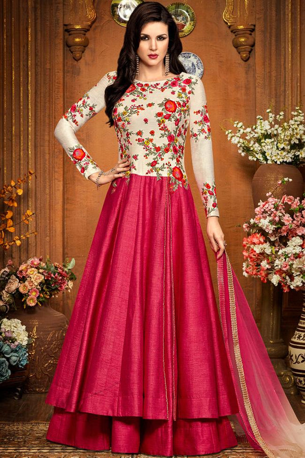 Indi Fashion White and Magenta Silk Party Wear Floor Length Suit