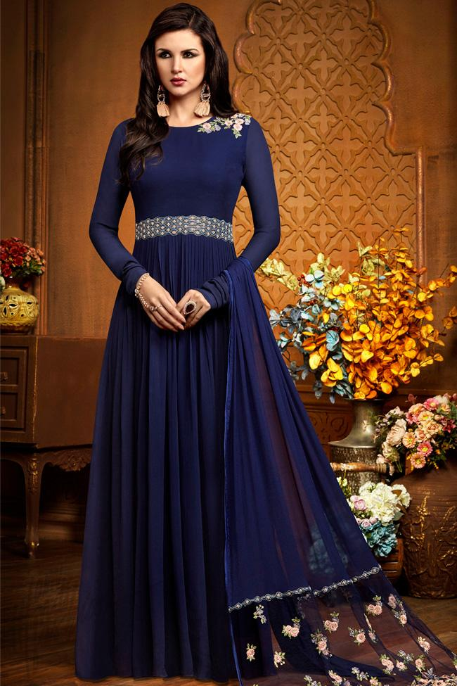 Indi Fashion Navy Blue Georgette Party Wear Floor Length Suit