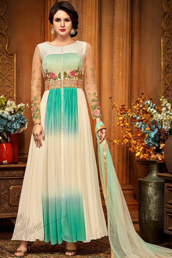 Indi Fashion Off White and Sea Green Georgette Party Wear Ankle Length Suit