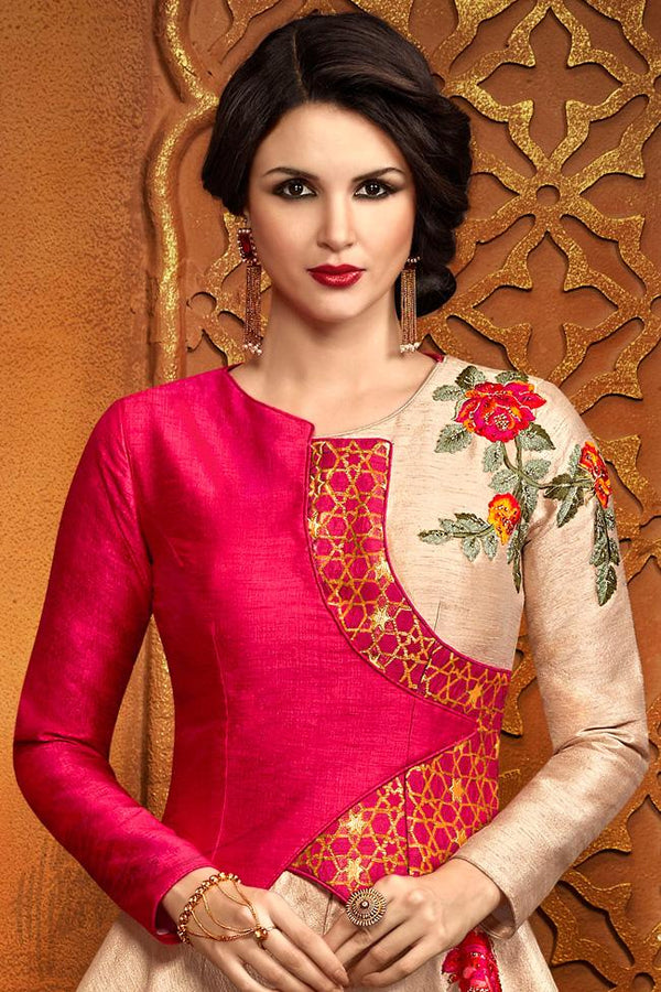 Indi Fashion Red and Beige Silk Party Wear Floor Length Suit