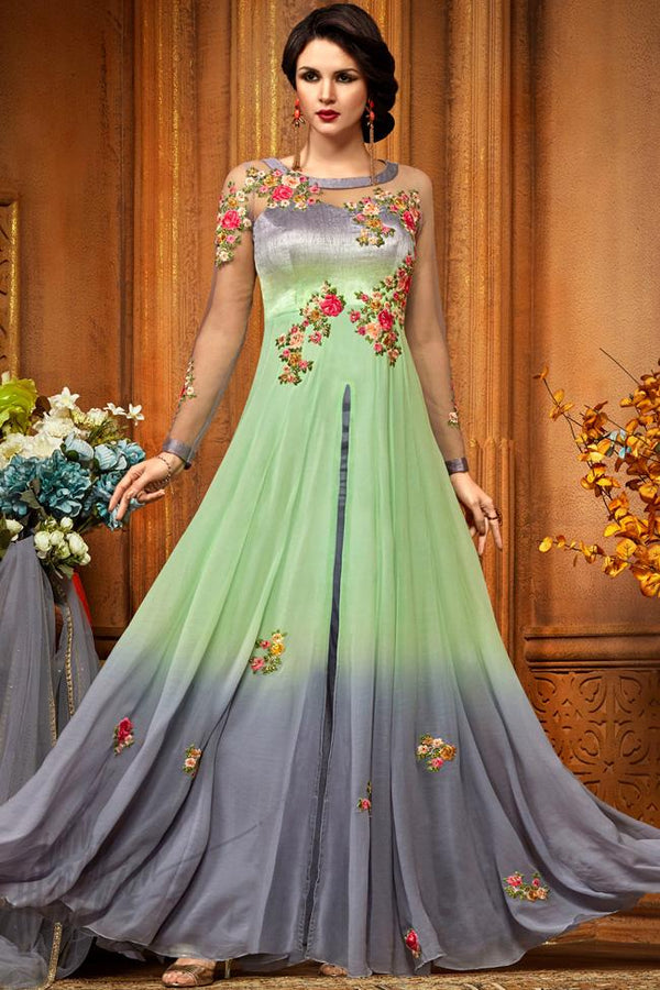 Indi Fashion Gray and Green Georgette Party Wear Floor Length Suit