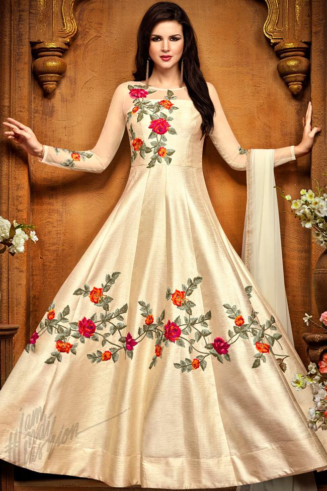 Indi Fashion Off White Chennai Silk Party Wear Floor Length Suit