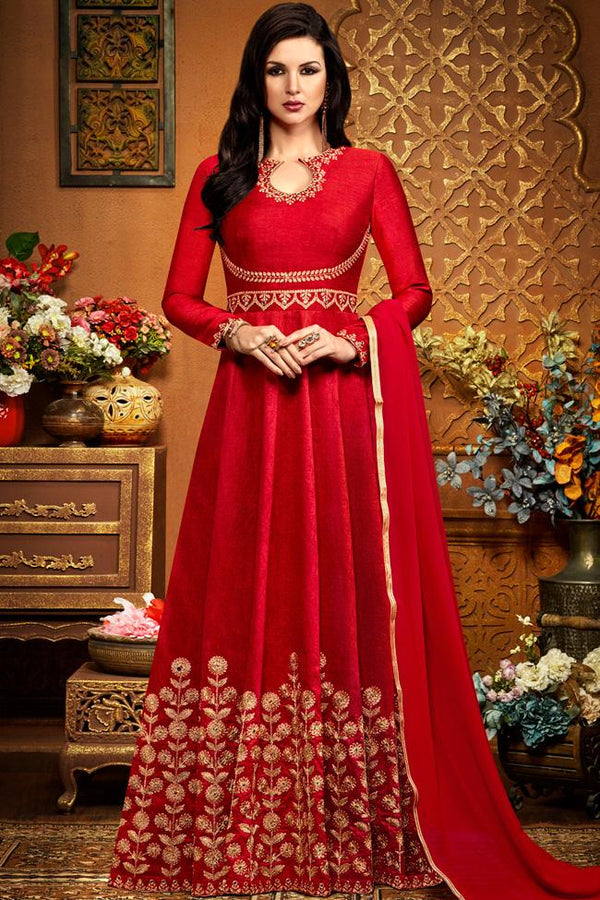 Indi Fashion Red Silk Party Wear Floor Length Suit