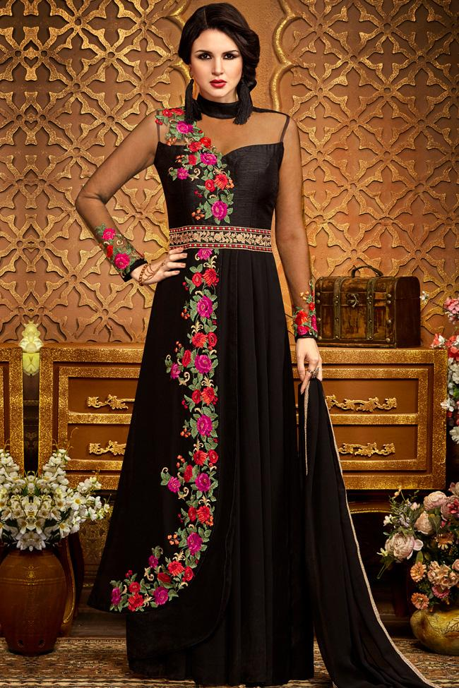 Indi Fashion Black Georgette Party Wear Floor Length Suit
