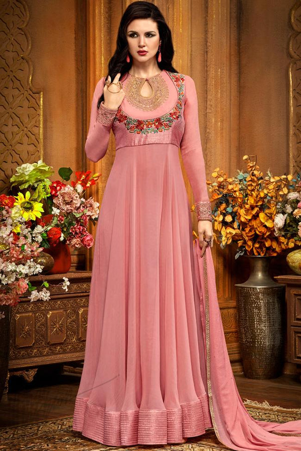 Indi Fashion Pink Georgette Party Wear Floor Length Suit