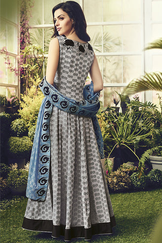 Indi Fashion Gray Black and Blue Cotton Party Wear Anarkali Suit