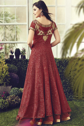 Indi Fashion Maroon and Gold Cotton Party Wear Anarkali Suit