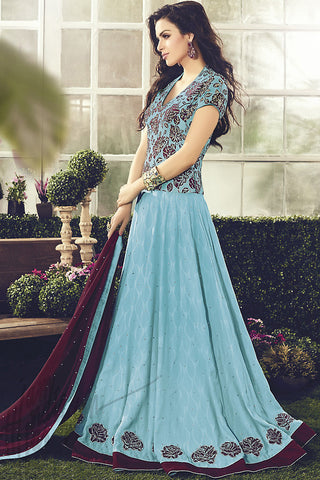 Indi Fashion Soft Blue and Wine Cotton Party Wear Anarkali Suit