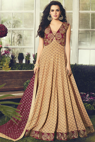 Indi Fashion Peach and Maroon Cotton Party Wear Anarkali Suit