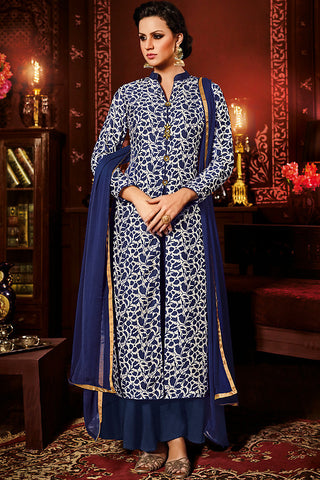 Indi Fashion White and Blue Silk Jacket Style Party Wear Suit