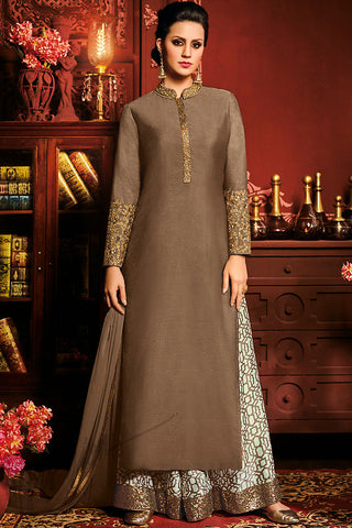 Indi Fashion Brown and White Silk Party Wear Palazzo Suit