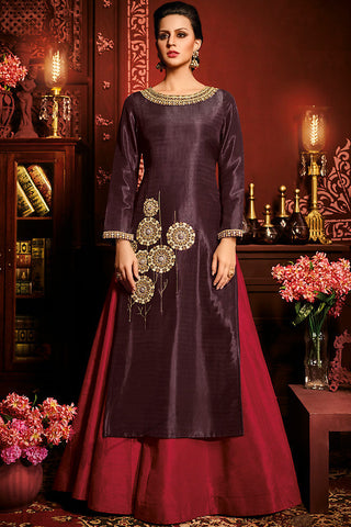 Indi Fashion Wine and Red Silk Party Wear Lehenga Set
