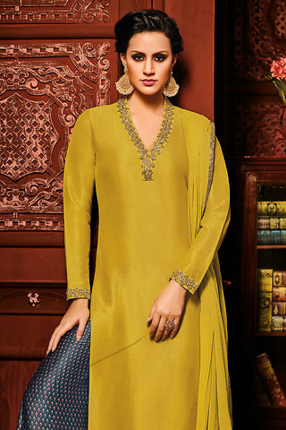 Indi Fashion Mustard and Gray Silk Party Wear palazzo Suit