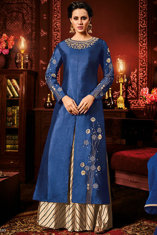 Indi Fashion Blue and Beige Silk Party Wear Palazzo Suit