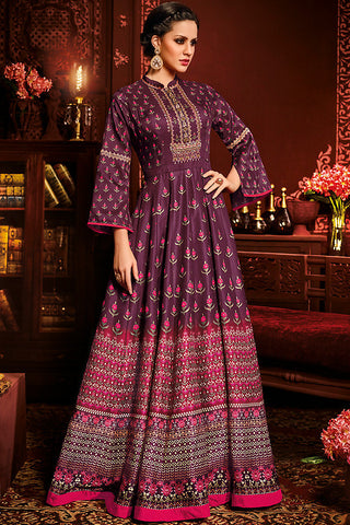 Indi Fashion Purple Silk party Wear Floor Length Suit