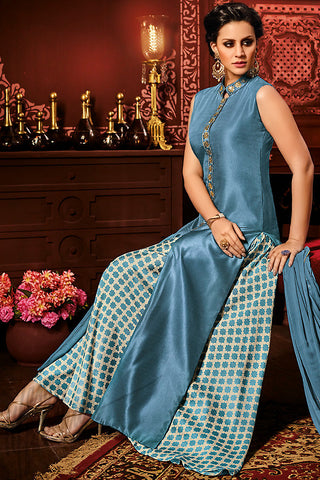 Indi Fashion Blue and White Silk Party Wear Palazzo Suit