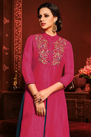 Indi Fashion Pink and Blue Silk Party Wear Palazzo Suit