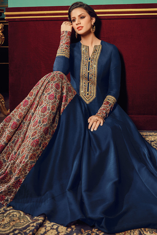 Indi Fashion Navy Blue Two Tone Taffeta Silk Party Wear Floor Length Suit