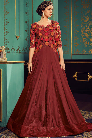 Indi Fashion Maroon Paper Silk Gown Style Party Wear Floor Length Suit