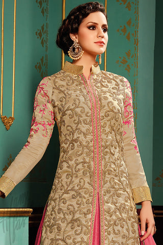 Indi Fashion Beige and Pink Taffeta Silk Jacket Style Lehenga