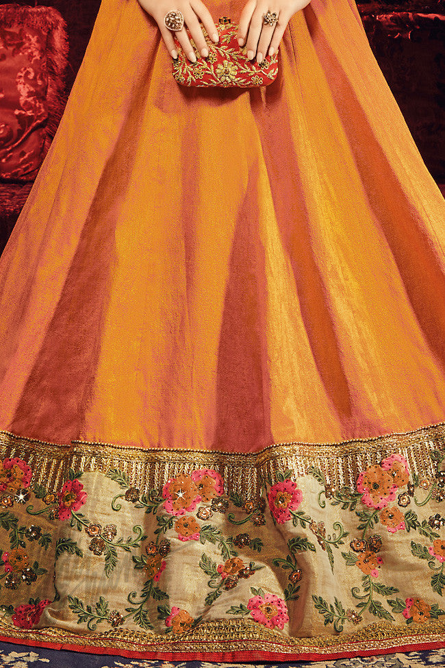 Indi Fashion Mustard Yellow Silk Party Wear Floor Length Suit