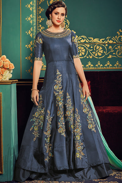 Buy Blue paper Silk Party Wear Floor Length Suit Online at indi.fashion