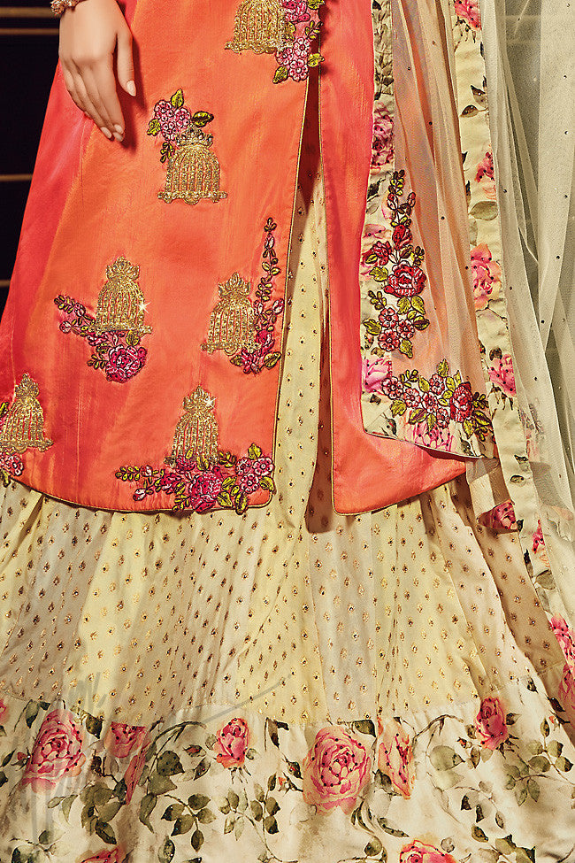 Indi Fashion Orange and Cream paper Silk Jacket Style Lehenga