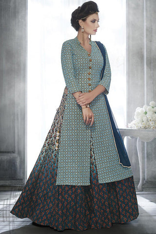 Indi Fashion Light Blue Georgette Long Jacket Style Suit With Skirt