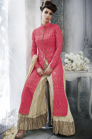 Indi Fashion Red and Beige Silk Long Jacket Style Sharara Suit