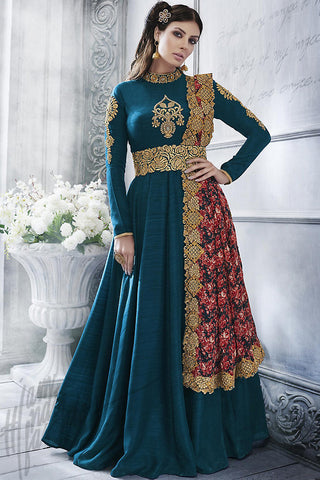 Indi Fashion Bottle Green Silk Floor Length Suit