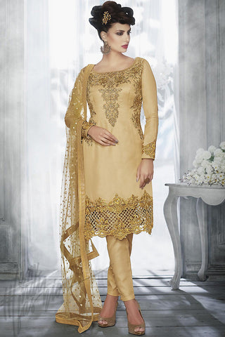 Indi Fashion Beige Tussar Silk Knee Length Straight Suit