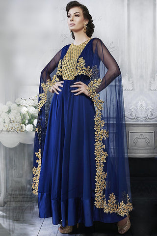 Indi Fashion Navy Blue Georgette and Net Cape Style Floor Length Suit