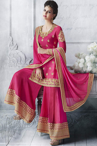 Indi Fashion Hot Pink Silk Jacket Style Sharara Suit