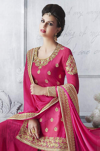 Buy Hot Pink Silk Jacket Style Sharara Suit Online at indi.fashion