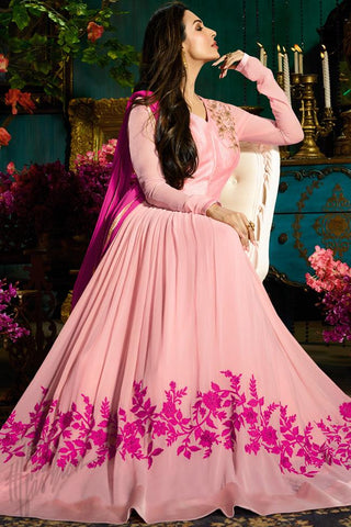 Buy Baby Pink Faux Georgette Floor Length Party Wear Suit Online at indi.fashion