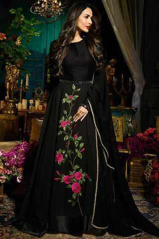 Indi Fashion Black Faux Georgette Floor Length Party Wear Suit