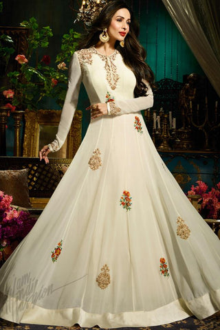 Indi Fashion Off White Faux Georgette Floor Length Party Wear Suit