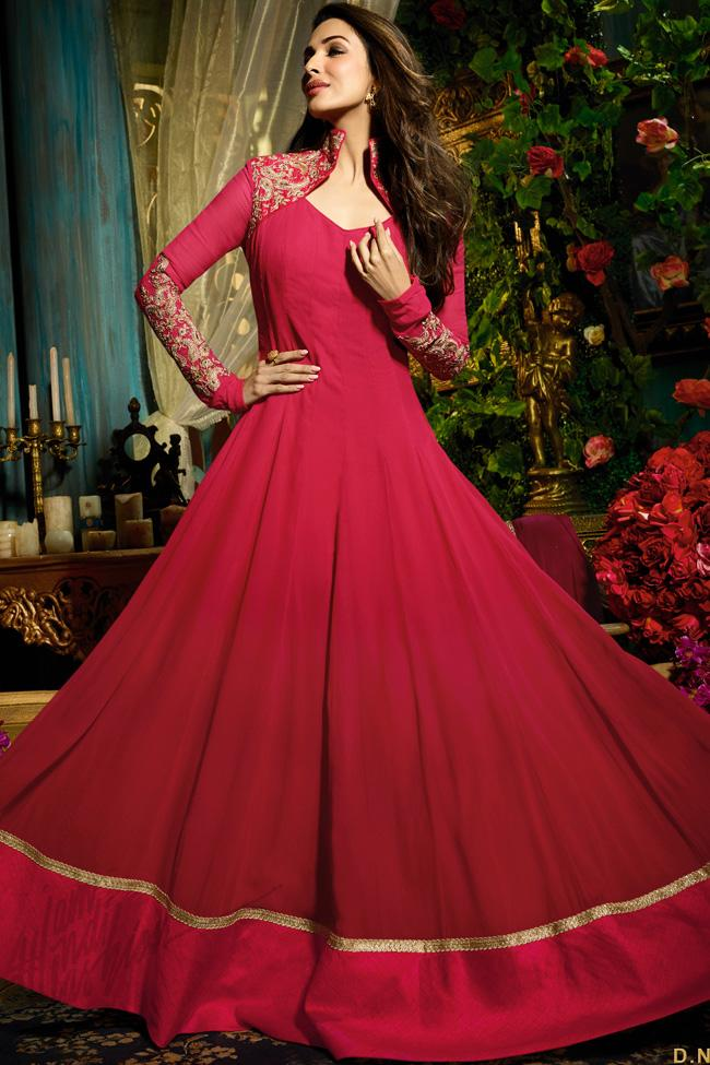 Indi Fashion Red Faux Georgette Floor Length Party Wear Suit