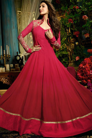 Buy Red Faux Georgette Floor Length Party Wear Suit Online at indi.fashion