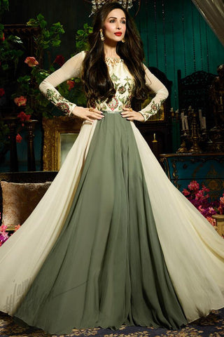Indi Fashion Off White and Mehandi Green Faux Georgette Floor Length Party Wear Suit