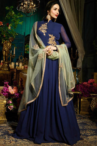 Indi Fashion Navy Blue Faux Georgette Floor Length Party Wear Suit