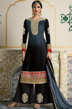 Indi Fashion Gray and Black Velvet Party Wear Palazzo Suit