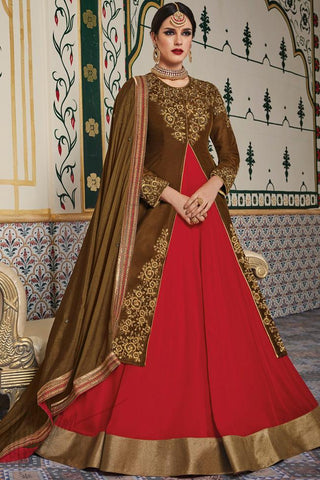 Indi Fashion Brown and Red Velvet Jacket Style Suit