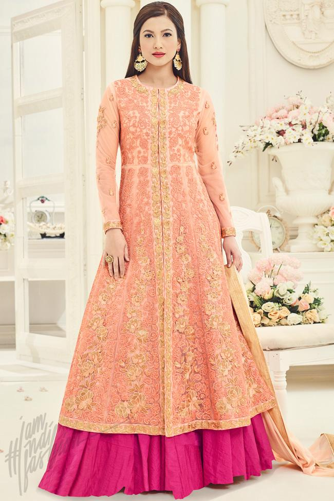 Peach and Magenta Net Party Wear Gown Style Suit - indi.fashion