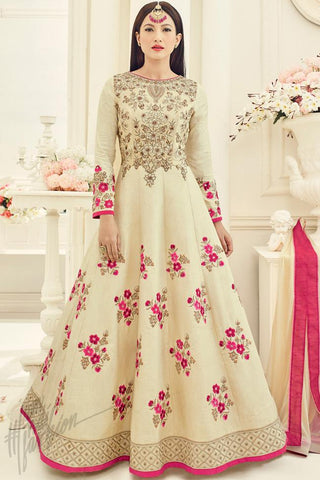 Indi Fashion Off White Silk Party Wear Floor Length Suit